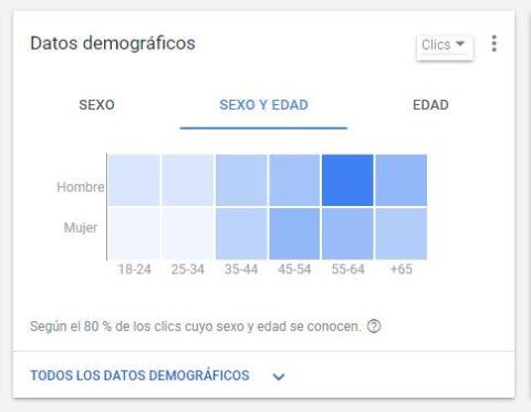 captura de pantalla Google Adwords datos demograficos