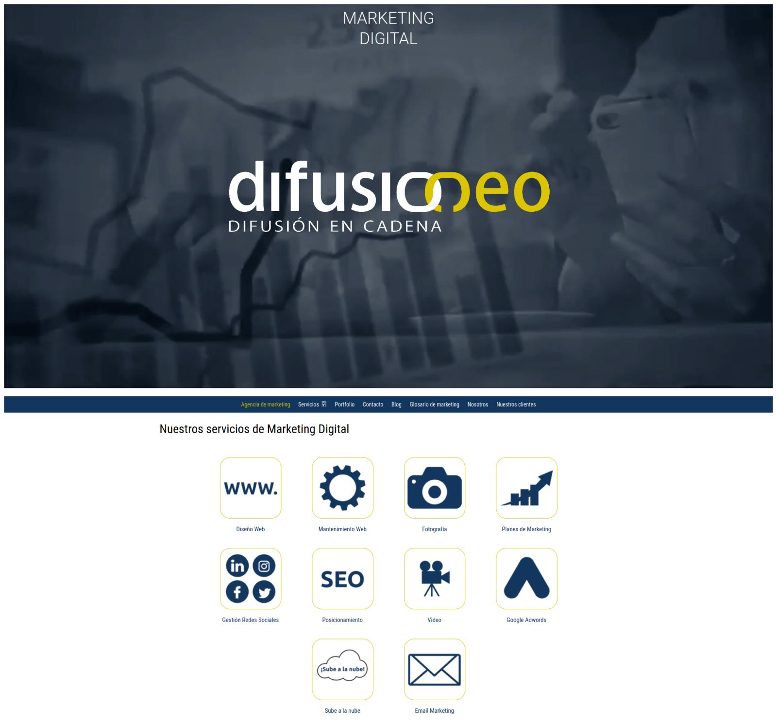 Screensho página web Difusioneo