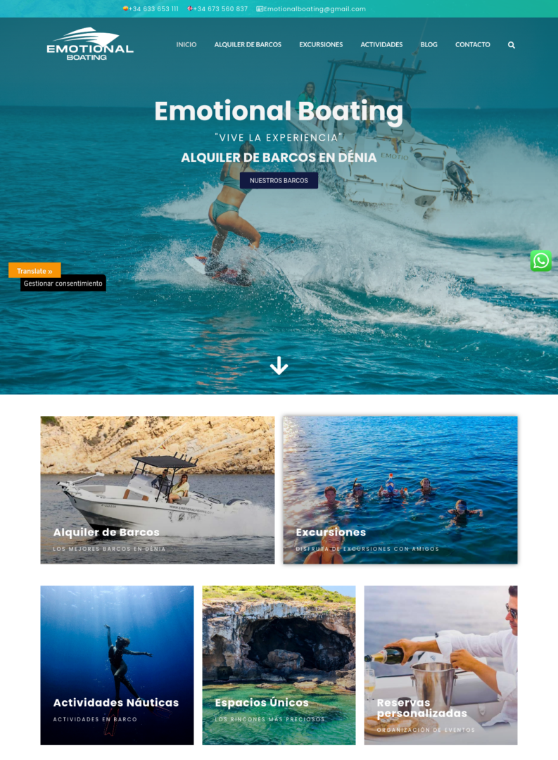 captura de pantalla web emotionalboating.com